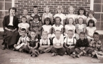 1949 - Mountain View School Kindergarten A.M. Class. Back row, left to right: Pam Pratt, Unknown, Unknown, Marilyn Mille
