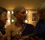 Sarah Chandler, Linda Hansen, and Amy Hansen Nelke backstage at the Edmonton Opera, 2008, as Amy prepares for the role o