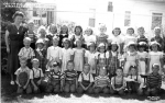 1949 - Columbia Heights School Kindergarten A.M. Class. Front row, left to right: Unknown, Campbell twin, Delbert Giddin