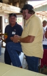 Terry Taylor (l) with Larry Wasmuth at Farmers Barn Dinner.