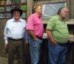 Harold Eason (l) with Don Livonius (middle) and Larry Christenson at Farmers Barn Dinner.