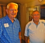Dick Herring (l) and Les Smith - volunteer bartenders at Farmers Barn Dinner.