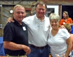 Cliff Barbich (l) with Chuck Cooke and Gwen Anderson Cooke at Farmers Barn Dinner.