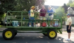 Before decorating the Carnation Festival Parade trailer. Left to right: Barb Tanner Hightower, Dean Knight, Gwen Anderso