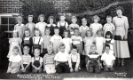 1949 - Mountain View School Kindergarten P.M. Class. Back row left to right: Unknown, Jeanette Hladek(?), Claudia Mitche